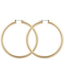 """Large Textured Tubular Hoop Earrings 3"""""""