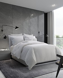 Vera Wang Linear Tucks White Duvet Cover, Queen