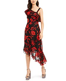Antonia Printed One-Shoulder Dress