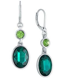Silver-Tone Green Stone Double Drop Earrings