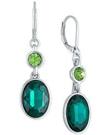 RACHEL Rachel Roy Silver-Tone Green Stone Double Drop Earrings