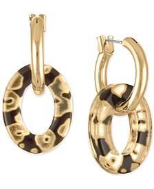 Gold-Tone Animal Print Link Drop Earrings