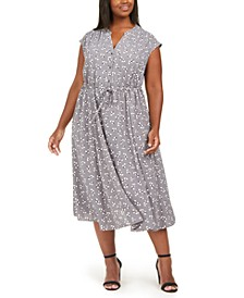 Plus Size Drawstring Midi Dress