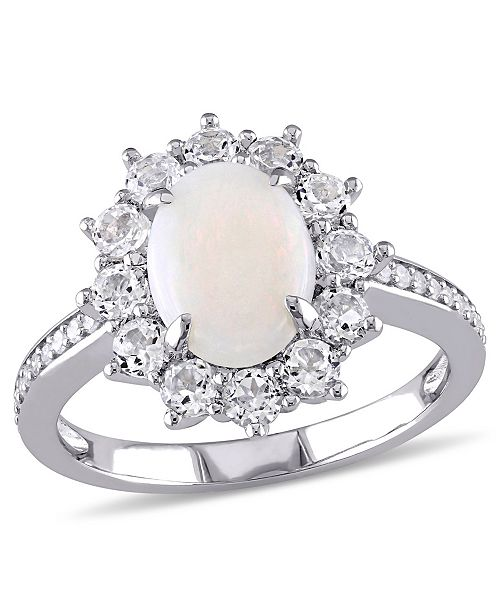 Macy's Oval Cut Opal (1 ct. t.w.), White Topaz (1 ct. t.w.) and Diamond (1/10 ct. t.w.) Halo Ring in Sterling Sterling Silver
