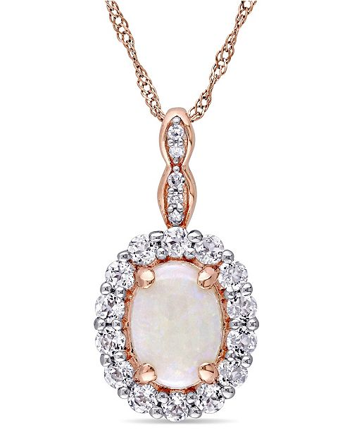"""Macy's Opal (7/8 ct. t.w.), White Topaz (5/8 ct. t.w.) and Diamond Accent Vintage 17"""" Necklace in 14k Rose Gold"""
