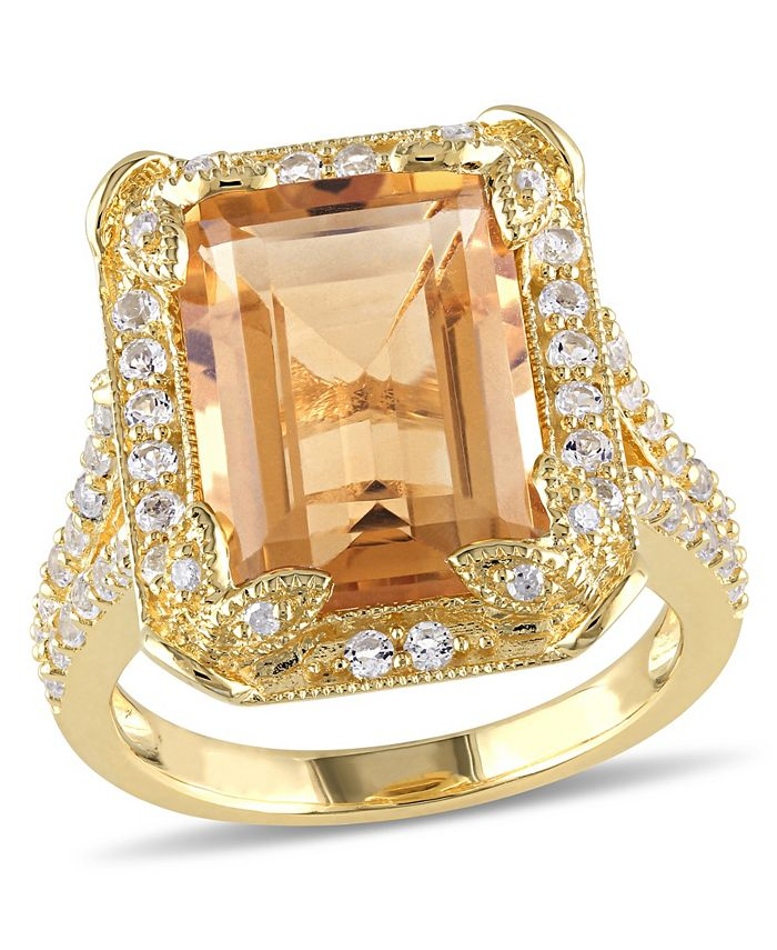 Macy's - Citrine (6-1/4 ct. t.w), White Topaz (1-1/3 ct. t.w.) and Diamond Accent Halo Leaf Ring in 18k Yellow Gold Over Sterling Silver