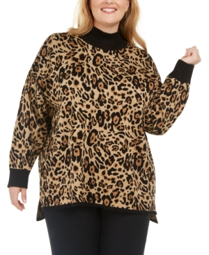 Calvin Klein Sweaters PLUS SIZE ANIMAL PRINT PULLOVER SWEATER
