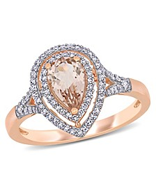 Morganite (5/8 ct. t.w.) and Diamond (1/4 ct. t.w.) Halo Teardrop Ring in 14k Rose Gold