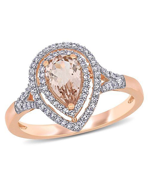 Macy's Morganite (5/8 ct. t.w.) and Diamond (1/4 ct. t.w.) Halo Teardrop Ring in 14k Rose Gold