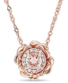 """Morganite (1/3 ct. t.w.) and Diamond (1/10 ct. t.w.) Flower Halo 17"""" Necklace in 10k Rose Gold"""