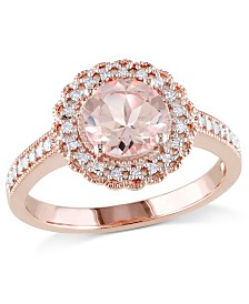 Morganite (1-1/6 ct. t.w.) and Diamond (1/8 ct. t.w.) Floral Halo Ring in 18k Rose Gold Over Silver
