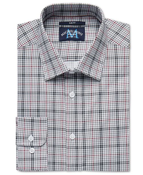 Michelsons of London Men's Slim-Fit Stretch Houndstooth Dress Shirt