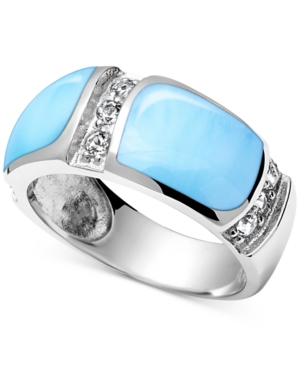 Larimar (7 x 10mm) & White Topaz (1/3 ct t.w.) Statement Ring in Sterling Silver