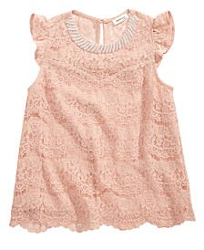Big Girls Embellished Lace Top