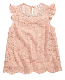 Monteau Big Girls Embellished Lace Top
