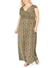 Plus Size Floral-Print Empire-Waist Maxi Dress