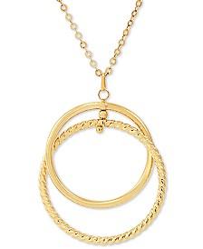 "Italian Gold Interlocking Circle 24"" Pendant Necklace in 14k Gold"