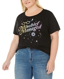 Modern Lux Trendy Plus Size Mischief Managed Graphic-Print T-Shirt