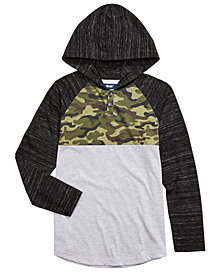 Univibe Big Boys Jamie Pieced Colorblocked Hooded Henley