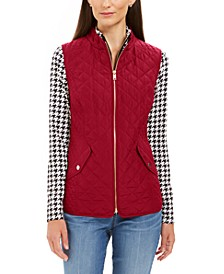 Petite Zip-Front Quilted Cotton Vest, Created for Macy's
