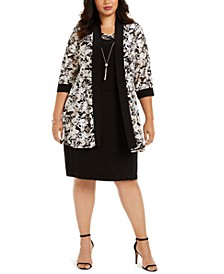 Plus Size Necklace Dress & Printed Jacket