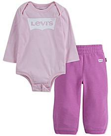 Baby Girls 2-Pc. Bodysuit & Jogger Pants Set