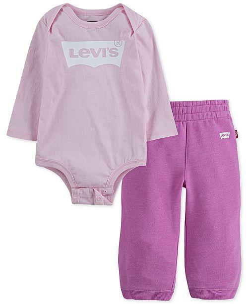 Levi's Baby Girls 2-Pc. Bodysuit & Jogger Pants Set