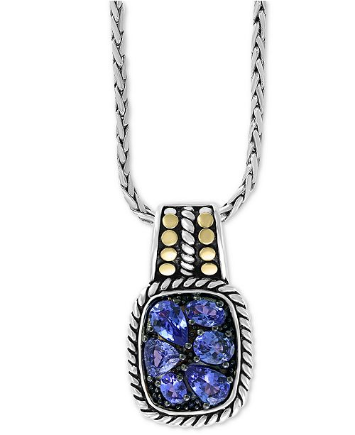 """EFFY Collection EFFY® Tanzanite Cluster 18"""" Pendant Necklace (1-7/8 ct. t.w.) in Sterling Silver and 18k Gold"""