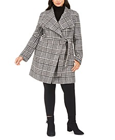 Plus Size Belted Asymmetrical Coat