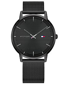 Tommy Hilfiger Men's Black-Tone Stainless Steel Mesh Bracelet Watch 40mm, Created for Macys