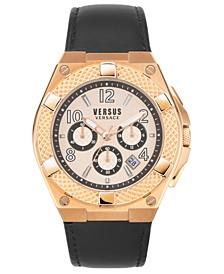 Men's Chronograph Estéve Black Leather Strap Watch 46mm
