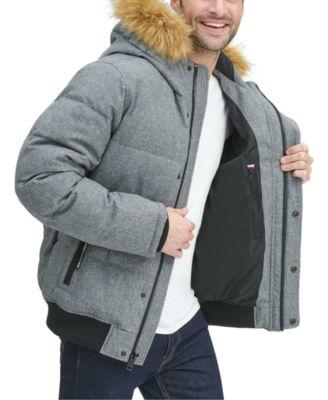 Tommy Hilfiger Men/'s Green Color-Block Short Snorkel Coat with Faux Fur Collar