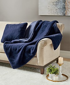 Martha Stewart Collection Solid Faux Fur Decorative Pillow & Throw Collection, Created for Macy's