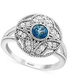 EFFY® London Blue Topaz (5/8 ct. t.w.) & White Sapphire (1/4 ct. t.w.) Statement Ring in Sterling Silver