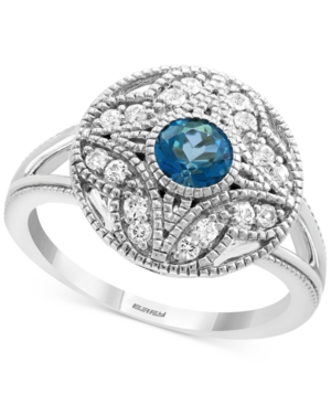 Effy London Blue Topaz (5/8 ct. t.w.) & White Sapphire (1/4 ct. t.w.) Statement Ring in Sterling Silver