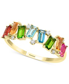 EFFY® Multi-Gemstone (7/8 ct. t.w.) & Diamond (1/20 ct. t.w.) Statement Ring in 14k Gold