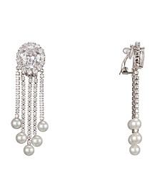 Jewelry Pearl & Cubic Zirconia Fringe Clip Earrings