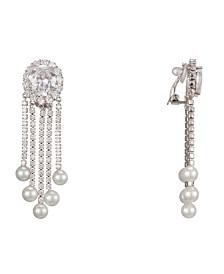 Nina Jewelry Pearl & Cubic Zirconia Fringe Clip Earrings