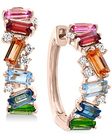 EFFY® Multi-Gemstone (1-3/8 ct. t.w.) & Diamond (1/6 ct. t.w.) Hoop Earrings in 14k Gold