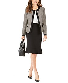 Tweed-Jacket Flared-Hem Skirt Suit