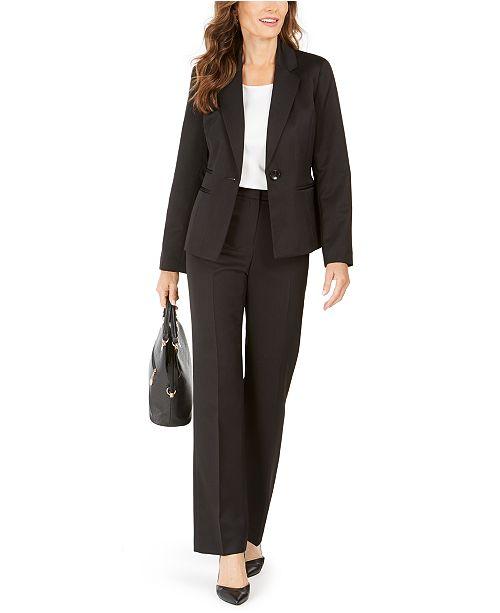 Le Suit Tonal Striped One-Button Pantsuit