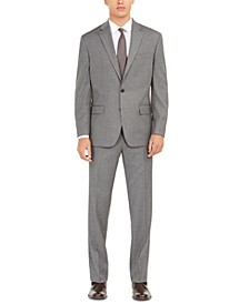 Men's Classic-Fit Micro Grid Stretch Suit