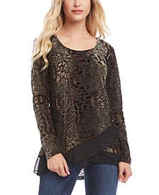 Burnout Snake-Print Chiffon-Hem Top