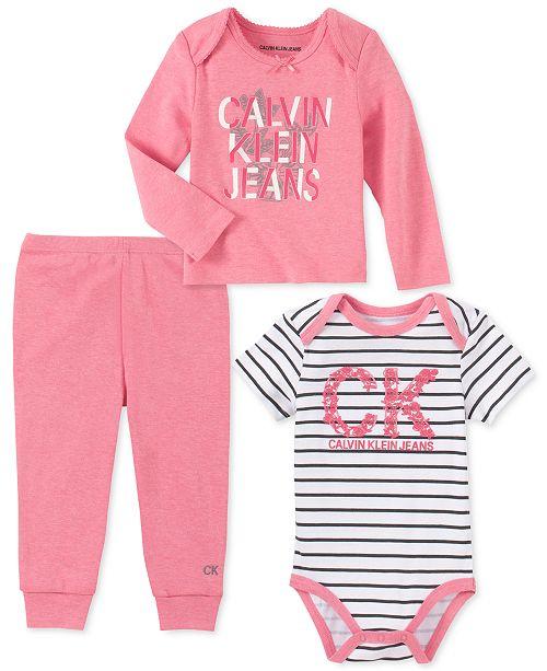 Calvin Klein Baby Girls 3-Pc. T-Shirt, Bodysuit & Pants Set