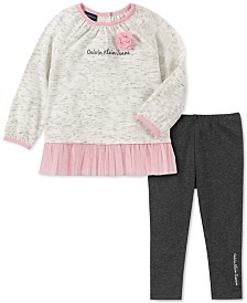 Calvin Klein Baby Girls 2-Pc. Mesh-Trim Tunic & Leggings Set