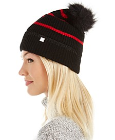 Metallic-Tipped Striped Beanie