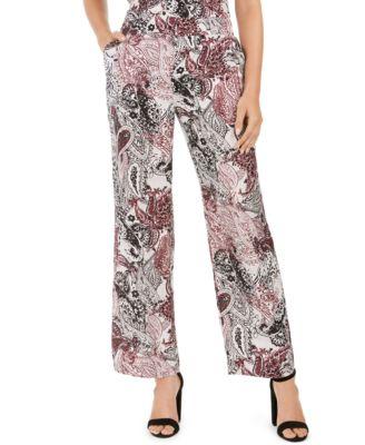 Pull-On Wide-Leg Printed Pants