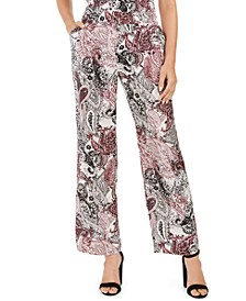 Pull-On Wide-Leg Printed Pants