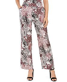 Nine West Pull-On Wide-Leg Printed Pants