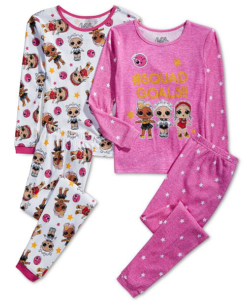 AME Little & Big Girls 4-Pc. Cotton LOL Surprise Pajama Set